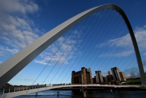 Millenium Bridge glasgow with blue sky and fluffy clouds
